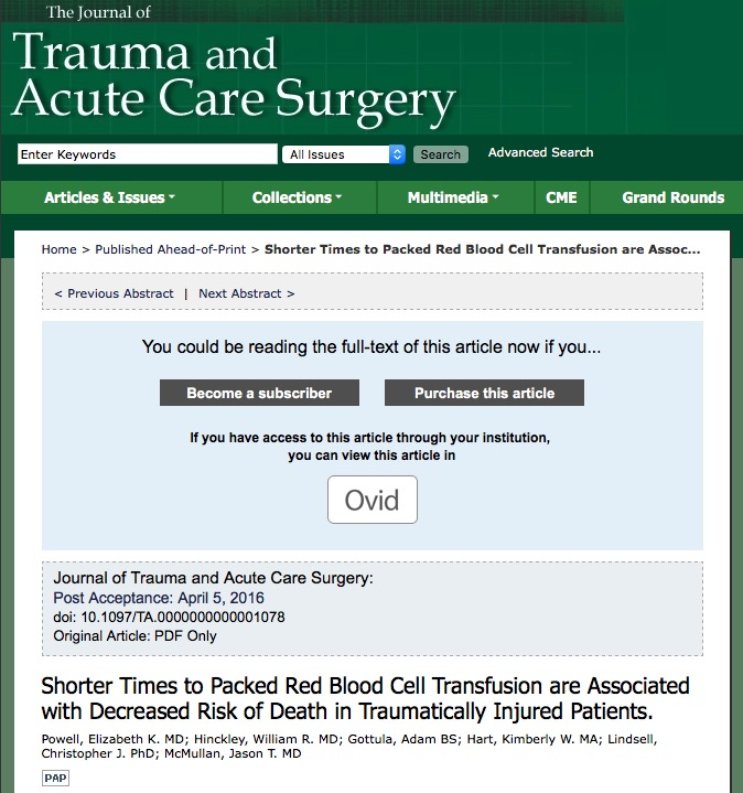переливание крови, Journal of Trauma and Acute Care Surgery