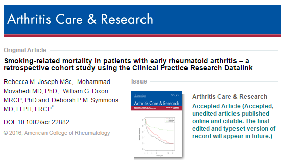 курение, Arthritis Care and Research Journal