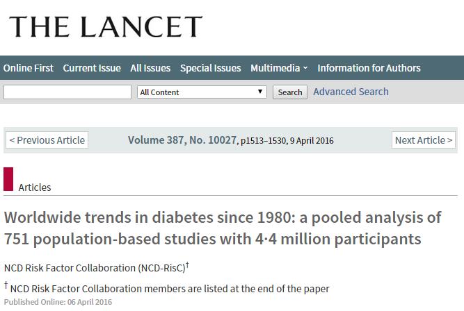 сахарный диабет, ВОЗ, The Lancet