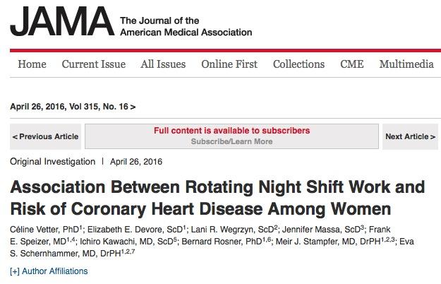 ночь, работа, сердечно-сосудистые заболевания, JAMA