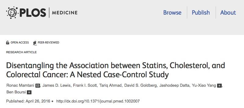 колоректальный рак, холестерин, статины, PLoS Medicine