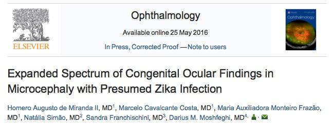 вирус Зика, Ophthalmology