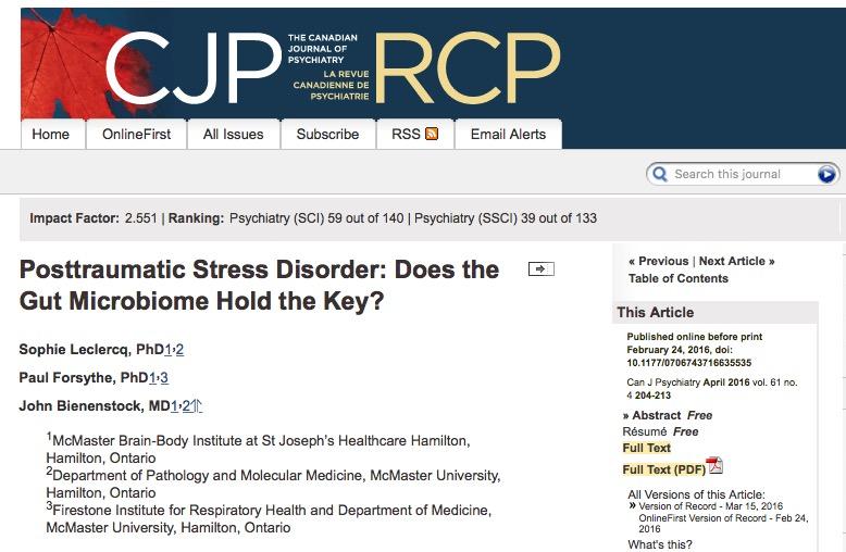 кишечная микрофлора, посттравматический стресс, The Canadian Journal of Psychiatry