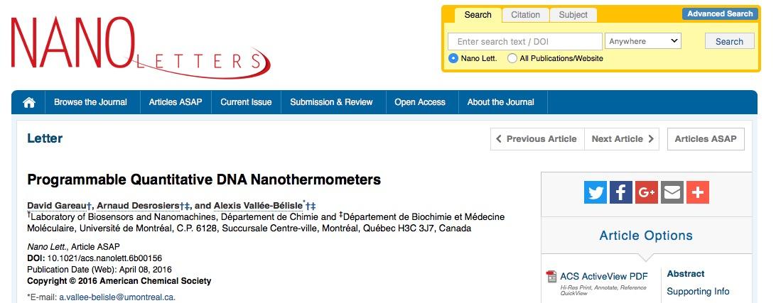 ДНК, термометр, Nano Letters