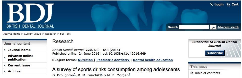 энергетические напитки, British Dental Journal, подростки,