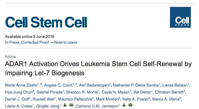 лейкоз, Cell Stem Cell,