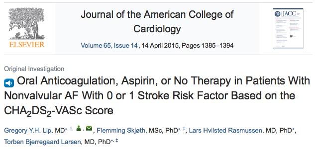 аспирин, инсульт, Journal of the American College of Cardiology