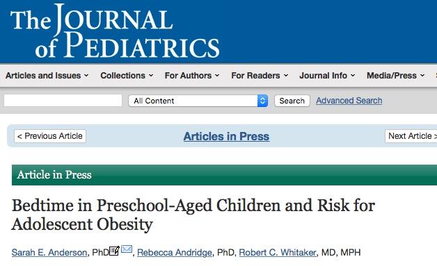 ожирение, сон, The Journal of Pediatrics