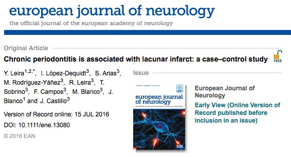 пародонтит, инсульт, European Journal of Neurology