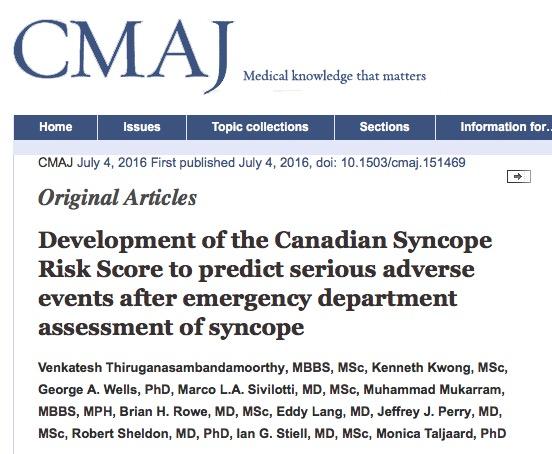 обморок, Canadian Medical Association Journal