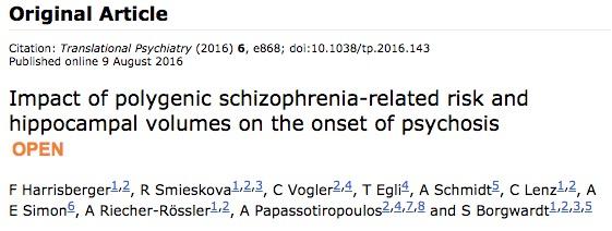 шизофрения, Translational Psychiatry